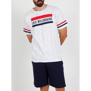 Vêtements Homme Pyjamas / Chemises de nuit Admas For Men Pyjama short t-shirt Millionnaire Lois blanc Admas Blanc