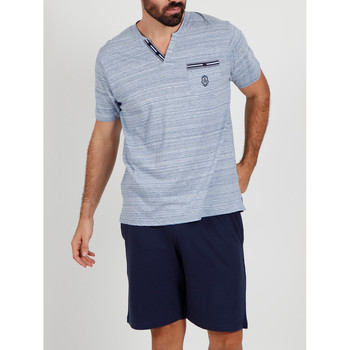 Vêtements Homme Pyjamas / Chemises de nuit Admas For Men Pyjama short t-shirt Light Stripes bleu Admas Bleu