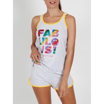 Vêtements Femme Pyjamas / Chemises de nuit Admas Pyjama short débardeur Glitter Smiley gris Gris
