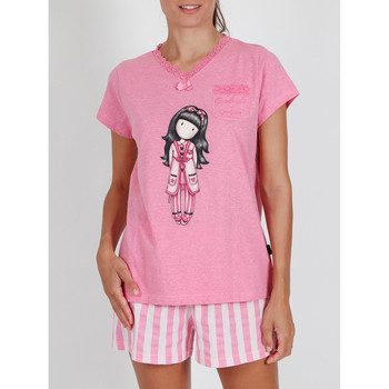 Vêtements Femme Pyjamas / Chemises de nuit Admas Pyjama short t-shirt Goodnight Gorjuss Santoro rose Rose
