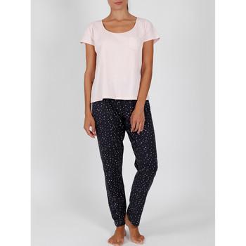 Vêtements Femme Pyjamas / Chemises de nuit Admas Pyjama pantalon t-shirt tenue d'intérieur Shine Stars rose Rose