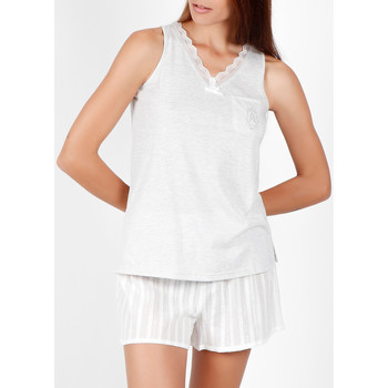 Vêtements Femme Pyjamas / Chemises de nuit Admas Pyjama short débardeur Luxe Stripes gris Gris