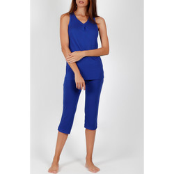 Vêtements Femme Pyjamas / Chemises de nuit Admas Pyjama pantacourt débardeur tenue d'intérieur Solid Colours Bleu