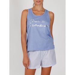 Vêtements Femme Pyjamas / Chemises de nuit Admas Pyjama short débardeur Oui A L'Amour bleu Bleu