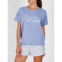 Vêtements Femme Pyjamas / Chemises de nuit Admas Pyjama short t-shirt Oui A L'Amour bleu Bleu