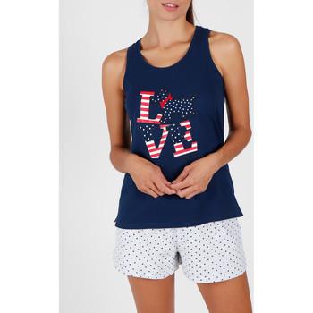Vêtements Femme Pyjamas / Chemises de nuit Admas Pyjama short débardeur LouLou Love Bleu Marine