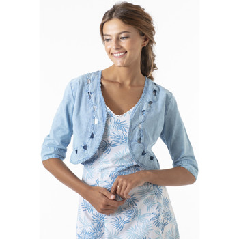 Vêtements Femme Gilets / Cardigans La Cotonniere BOLERO DAISY Bleu