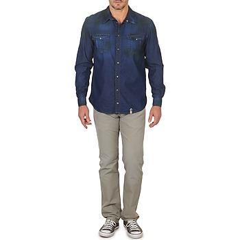 Chemises Homme Corwend Denim Manches T Bleu Vêtements porter Freeman Longues 80kwXnOP
