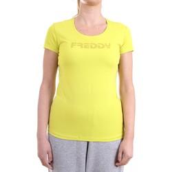 Vêtements Femme T-shirts manches courtes Freddy S1WBCT1 T-Shirt/Polo femme Jaune Jaune