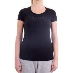 Vêtements Femme T-shirts manches courtes Freddy S1WBCT1 T-Shirt/Polo femme Noir Noir