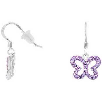 Montres & Bijoux Femme Boucles d'oreilles Cleor Boucles d'oreilles  en Argent 925/1000 et Cristal Violet Blanc