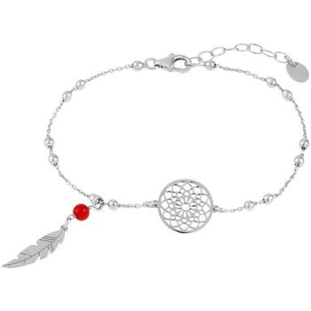 Montres & Bijoux Bracelets Tipy Bracelet  en Argent 925/1000 et Pierre Rouge Gris