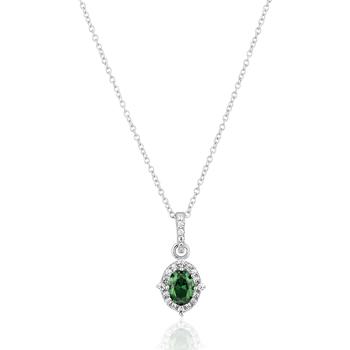 Montres & Bijoux Femme Colliers / Sautoirs Cleor Collier  en Argent 925/1000 Blanc et Oxyde Vert Blanc