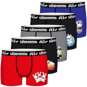 Sous-vêtements Garçon Boxers Lapins Cretins Lot de 5 Boxers coton garçon Lapins Crétins Noir