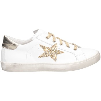 Chaussures Fille Baskets basses Dianetti Made In Italy I9869 Basket Enfant LAM BLANC / OR LAM BLANC / OR