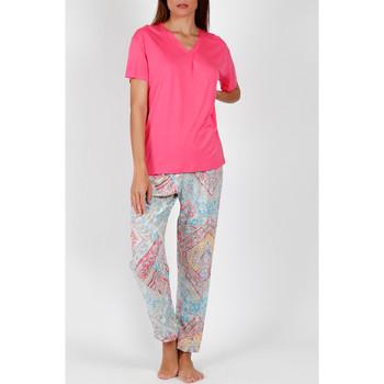 Vêtements Femme Pyjamas / Chemises de nuit Admas Pyjama pantalon t-shirt Colored Diamonds rose Rose
