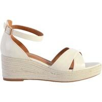 Chaussures Femme Sandales et Nu-pieds The Divine Factory Sandale Compensée QL4346 Blanc Cassé