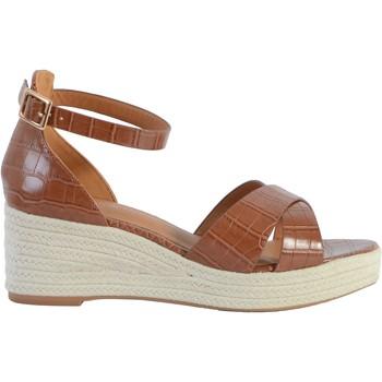 Chaussures Femme Sandales et Nu-pieds The Divine Factory Sandale Compensée QL4346 Camel