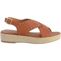 Chaussures Femme Sandales et Nu-pieds The Divine Factory Sandale Compensée QL4347 Camel