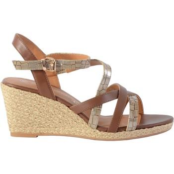 Chaussures Femme Sandales et Nu-pieds The Divine Factory Sandale Compensée QL4354 Camel