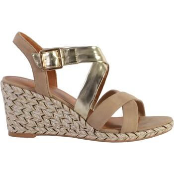 Chaussures Femme Sandales et Nu-pieds The Divine Factory Sandale Compensée QL4353 Taupe