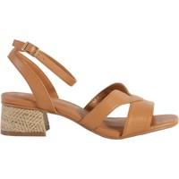 Chaussures Femme Sandales et Nu-pieds The Divine Factory Sandale À Talon QL4330 Camel