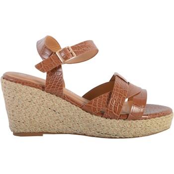 Chaussures Femme Sandales et Nu-pieds The Divine Factory Sandale Compensée QL4351 Camel