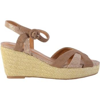 Chaussures Femme Sandales et Nu-pieds The Divine Factory Sandale Compensée QL4349 Taupe