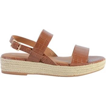 Chaussures Femme Sandales et Nu-pieds The Divine Factory Sandale Compensée QL4348 Camel