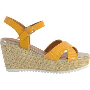 Chaussures Femme Sandales et Nu-pieds The Divine Factory Sandale Compensée QL4350 Ocre
