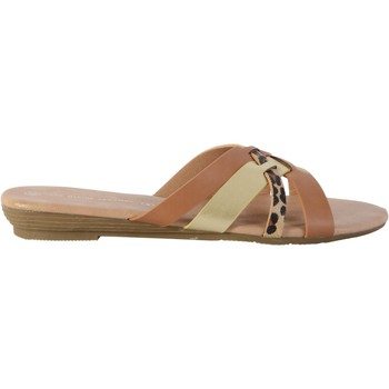 Chaussures Femme Mules The Divine Factory Sandale HX4341 Camel