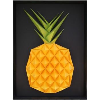 Maison & Déco Tableaux, toiles Polygone Origami Ananas Multicolore