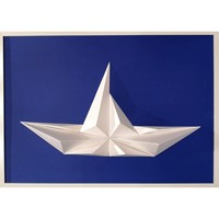 Maison & Déco Tableaux, toiles Polygone Origami Bateau Bleu et Blanc
