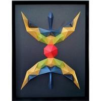 Maison & Déco Tableaux, toiles Polygone Origami Yaz Signe Berbère Multicolore scintillant