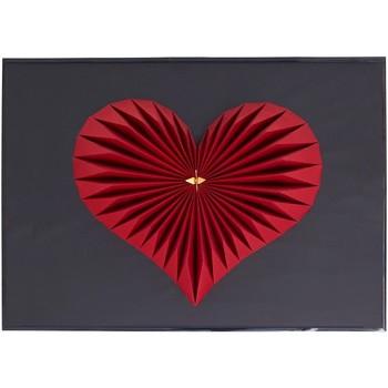 Maison & Déco Tableaux, toiles Polygone Origami Coeur Rouge et noir