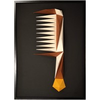 Maison & Déco Tableaux, toiles Polygone Origami Peigne Beige et marron fond noir