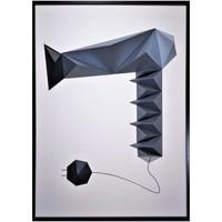 Maison & Déco Tableaux, toiles Polygone Origami Sèche-Cheveux Gris et noir fond blanc