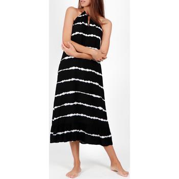 Vêtements Femme Robes longues Admas Robe longue estivale sans manches Tie And Dye Noir