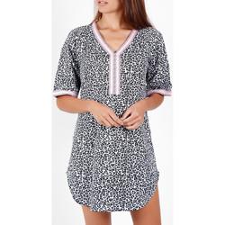 Vêtements Femme Paréos Admas Robe de plage manches courtes Pink Flowers Peau