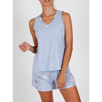 Vêtements Femme Pyjamas / Chemises de nuit Admas Pyjama short débardeur Light Blue Flowers Bleu