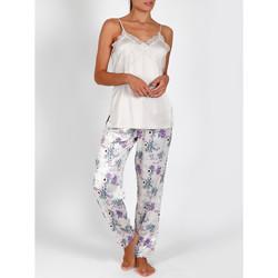 Vêtements Femme Pyjamas / Chemises de nuit Admas Pyjama satin pantalon caraco Romantic ivoire Ivoire