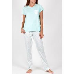 Vêtements Femme Pyjamas / Chemises de nuit Admas Pyjama pantalon t-shirt Summer Flowers vert Vert