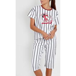 Vêtements Femme Pyjamas / Chemises de nuit Admas Pyjama pantacourt t-shirt Mickey Beisbol Disney blanc Blanc