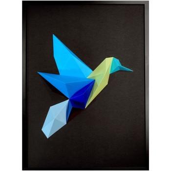 Maison & Déco Tableaux, toiles Polygone Origami Colibri Nuance de bleu fond noir