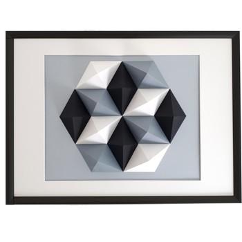 Maison & Déco Tableaux, toiles Polygone Origami Hexagone Noir Blanc Gris