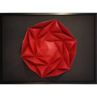 Maison & Déco Tableaux, toiles Polygone Origami Rose des Sables Rouge et noir