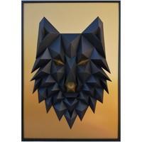Maison & Déco Tableaux, toiles Polygone Origami Loup Noir et doré