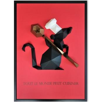 Maison & Déco Tableaux, toiles Polygone Origami Ratatouille Noir et Rouge