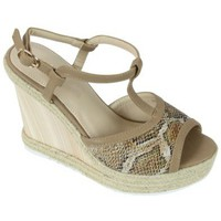 Chaussures Femme Sandales et Nu-pieds Kebello Compensees 580-1 beige
