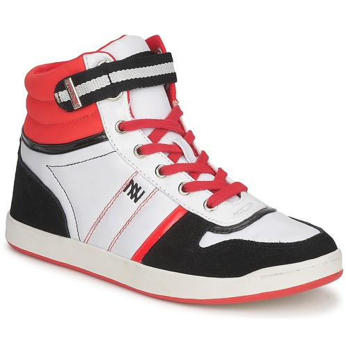 Chaussures Femme Baskets montantes Dorotennis STREET LACETS Rouge / Blanc / Noir